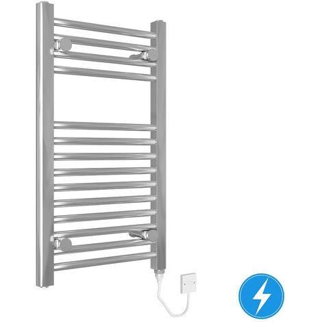 Bathroom Electric Heated Towel Rail 700 x 400 Straight Manual 150W Chrome