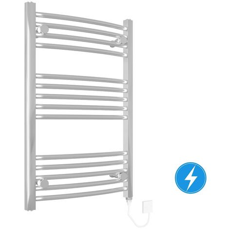 Bathroom Electric Heated Towel Rail 800 x 500 Curved Manual 150W Chrome