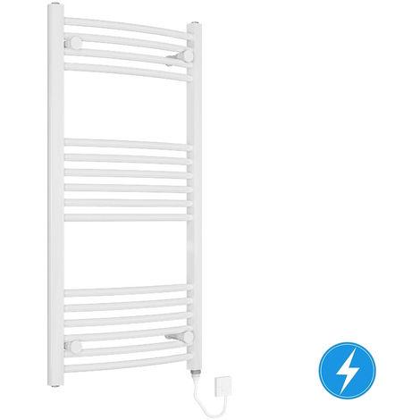 Bathroom Electric Heated Towel Rail Curved 1000 x 500 Manual 200W White