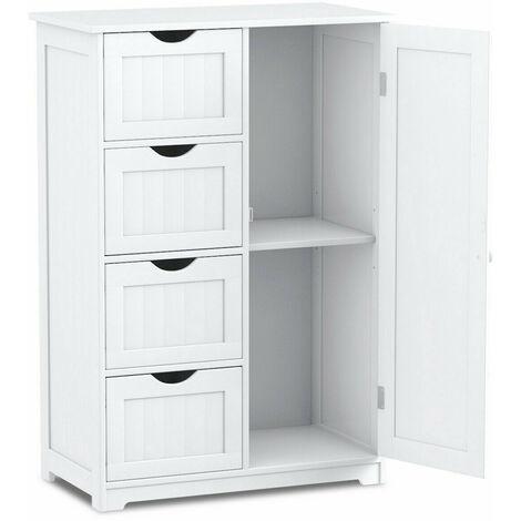 "main image of ""Bathroom Floor Cabinet Storage Cupboard Organizer W/Adjustable Shelf & 4 Drawers"""