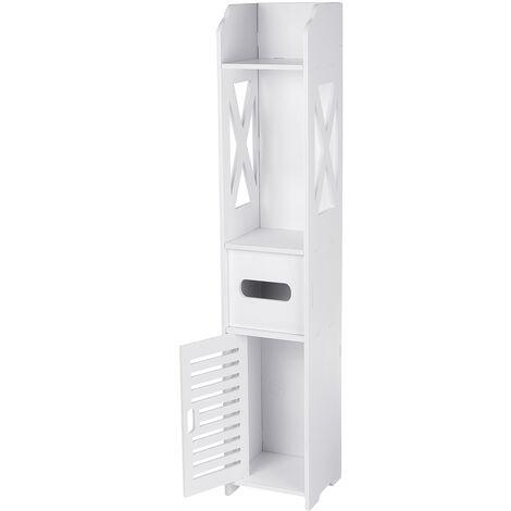 Bathroom Floor Cabinet Storage Toilet Bath Organizer Drawer Shelf White Wood Shelf
