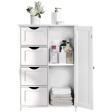 Bathroom Floor Storage Cabinet, Wooden Storage Unit with 4 Drawers, Single Door, Adjustable Shelf, for Living Room, Kitchen, Entryway, White