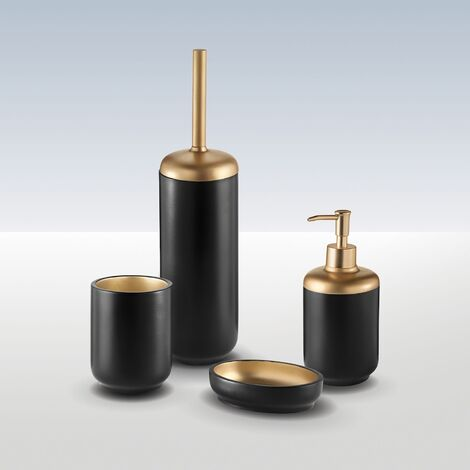 Bathroom Freestanding 4 Piece Accessory Set Resin Black Gold Durable