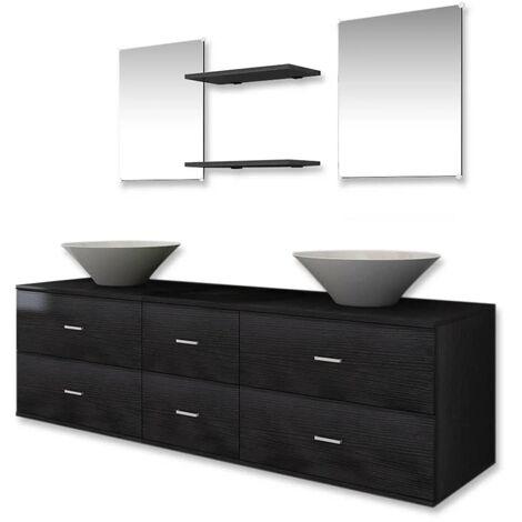 Bathroom Furniture and Basin Set Three Piece Black