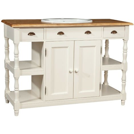 Bathroom Furniture in solid lime wood antique white structure top natural finish Made in Italy