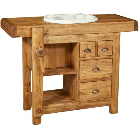 BATHROOM FURNITURE IN SOLID WOOD AND MARBLE MADE IN ITALY