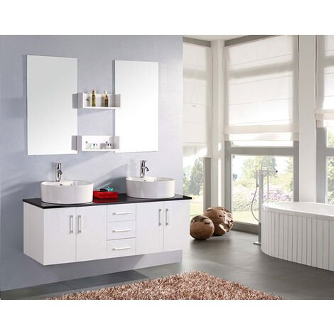 BATHROOM FURNITURE New Model LION white with black shelf