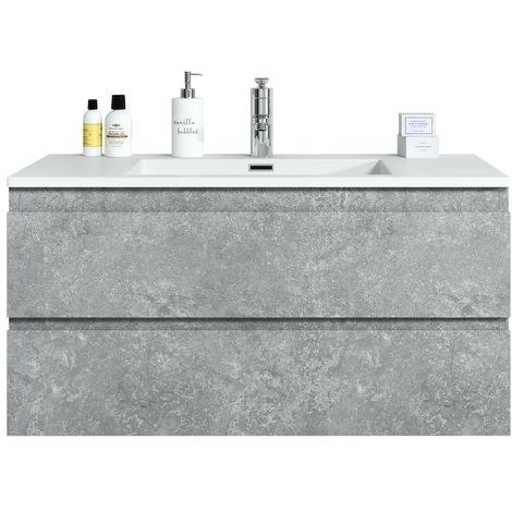 Bathroom furniture set Angela 100 cm basin F. Ash (grey) - Storage cabinet vanity unit sink furniture