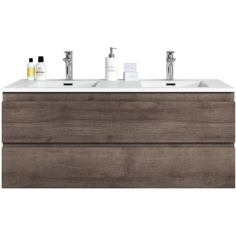 Bathroom furniture set Angela 120 cm basin Brown Oak - Storage cabinet vanity unit sink furniture
