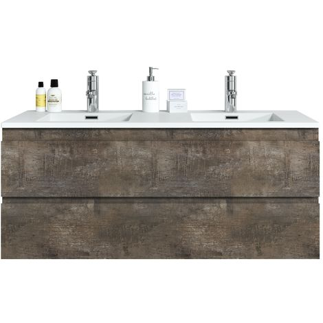 Bathroom furniture set Angela 120 cm basin Stone Ash - Storage cabinet vanity unit sink furniture