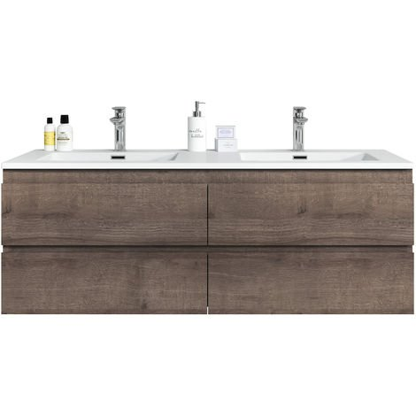 Bathroom furniture set Angela 140 cm basin Brown Oak - Storage cabinet vanity unit sink furniture