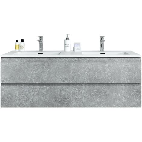 Bathroom furniture set Angela 140 cm basin F. Ash (grey) - Storage cabinet vanity unit sink furniture