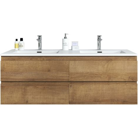 Bathroom furniture set Angela 140 cm basin F. Oak - Storage cabinet vanity unit sink furniture