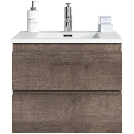 Bathroom furniture set Angela 60 cm basin Brown Oak - Storage cabinet vanity unit sink furniture