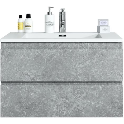 Bathroom furniture set Angela 80 cm basin F. Ash (grey) - Storage cabinet vanity unit sink furniture