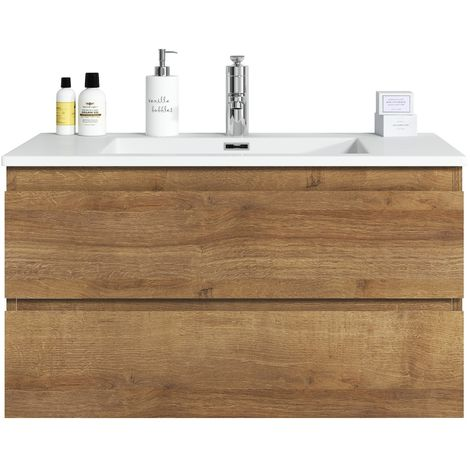 Bathroom furniture set Angela 80 cm basin F. Oak - Storage cabinet vanity unit sink furniture