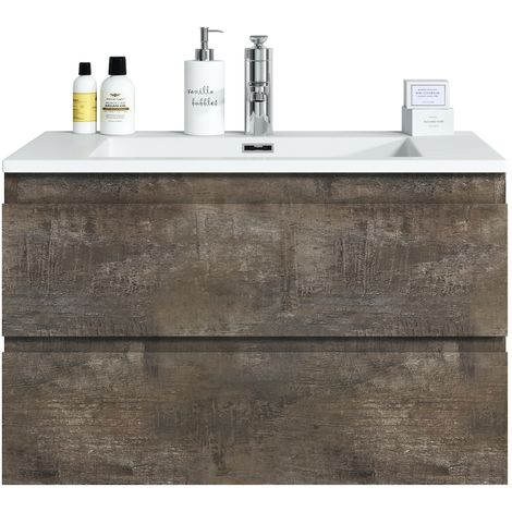 Bathroom furniture set Angela 80 cm basin Stone Ash - Storage cabinet vanity unit sink furniture