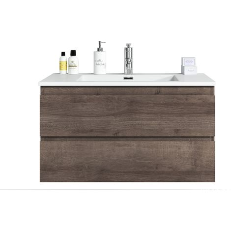 Bathroom furniture set Angela 90 cm basin Brown Oak - Storage cabinet vanity unit sink furniture