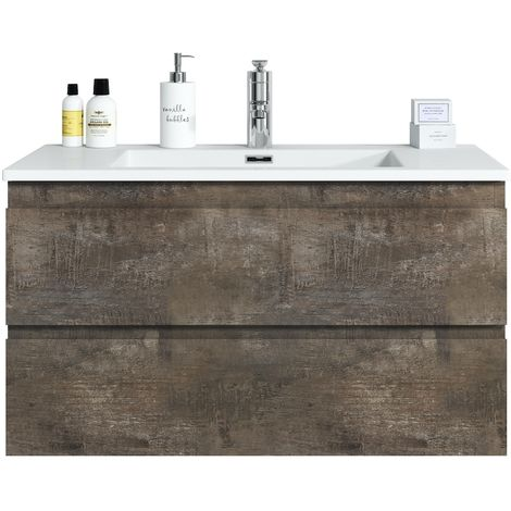 Bathroom furniture set Angela 90 cm basin Stone Ash - Storage cabinet vanity unit sink furniture