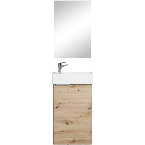 Bathroom furniture set Apollo 40 cm basin oak - Storage cabinet vanity unit sink furniture mirror