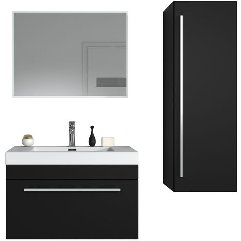 Bathroom furniture set Avalon 80cm black wood - Storage cabinet tall cupboard bathroom furniture sink
