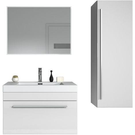 Bathroom furniture set Avalon 80cm black wood - Storage cabinet tall cupboard bathroom furniture sink