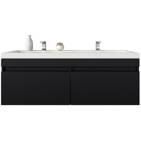 Bathroom furniture set Avellino 120 cm basin grey oak - Storage cabinet vanity unit sink furniture