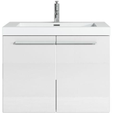 Bathroom furniture set Boston 70cm basin white high gloss - Storage cabinet vanity unit sink furniture