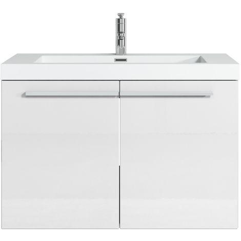 Bathroom furniture set Boston 80cm basin white high gloss - Storage cabinet vanity unit sink furniture