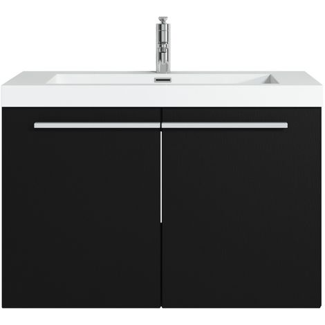 Bathroom furniture set Boston 80cm black wood - Storage cabinet tall cupboard bathroom furniture sink