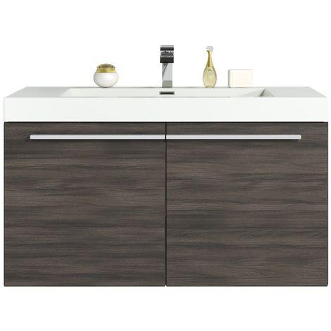 Bathroom furniture set Boston 90 cm basin grey oak - Storage cabinet vanity unit sink furniture