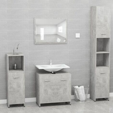 Bathroom Furniture Set Concrete Grey Chipboard