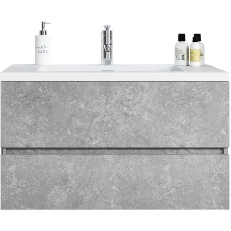 Bathroom furniture set Coni 90 cm basin F. Ash - Storage cabinet vanity unit sink furniture