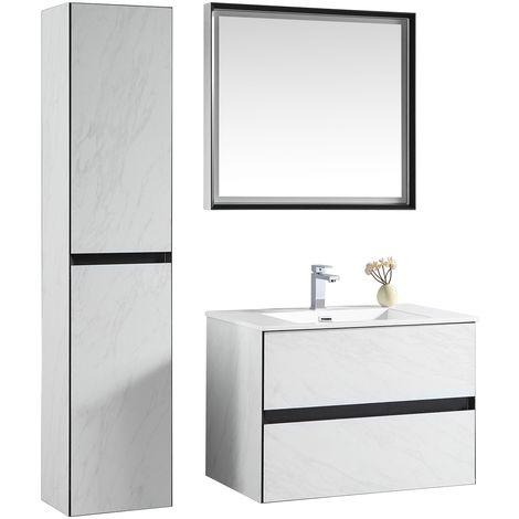 Bathroom furniture set Corone 80cm basin White - Storage cabinet vanity unit sink furniture mirror
