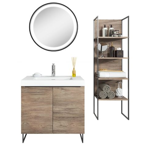 Bathroom furniture set Durban 80cm basin Dark Oak - Storage cabinet vanity unit sink furniture LED mirror