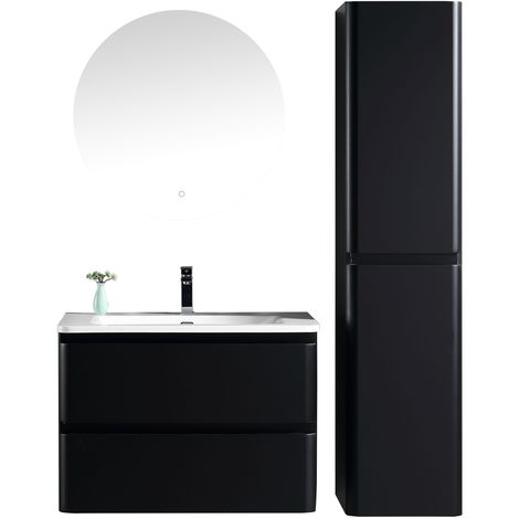 Bathroom furniture set Fargo 80cm basin Black - Storage cabinet vanity unit sink furniture mirror