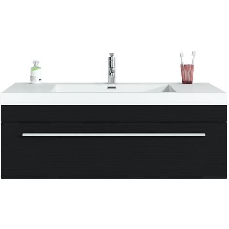 Bathroom furniture set Garcia 100 cm basin black wood - Storage cabinet vanity unit sink furniture
