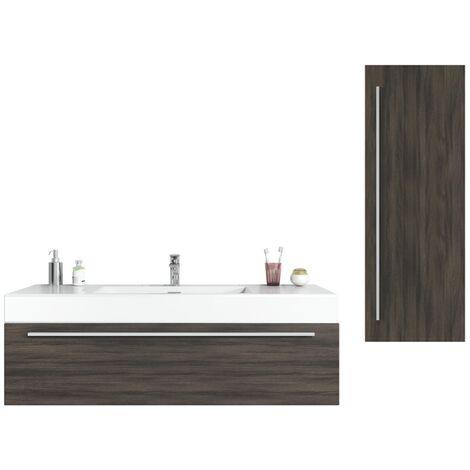 Bathroom furniture set Garcia 120 cm basin grey oak - Storage cabinet vanity unit sink furniture