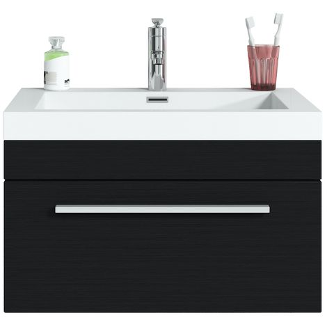 Bathroom furniture set Garcia 60 cm basin black wood - Storage cabinet vanity unit sink furniture