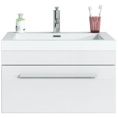 Bathroom furniture set Garcia 60 cm basin white high gloss - Storage cabinet vanity unit sink furniture