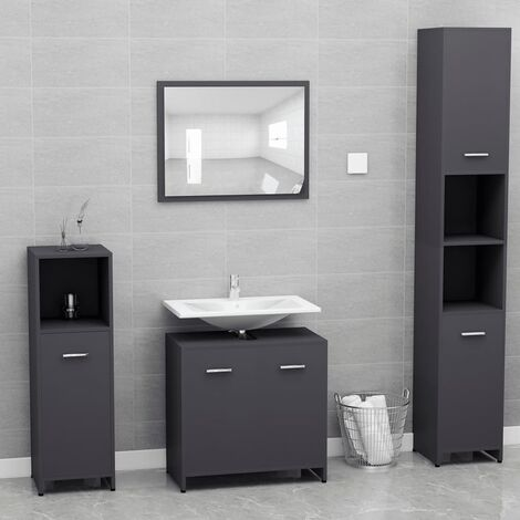 Bathroom Furniture Set Grey Chipboard