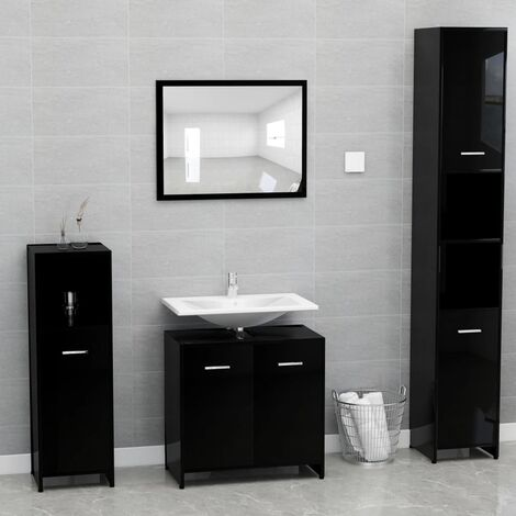 Bathroom Furniture Set High Gloss Black Chipboard