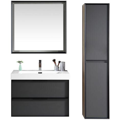 Bathroom furniture set Hoover 80cm basin - Storage cabinet vanity unit sink furniture LED mirror
