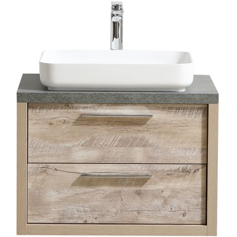 Bathroom furniture set Indiana 70 cm basin nature wood - Storage cabinet vanity unit sink furniture mirror