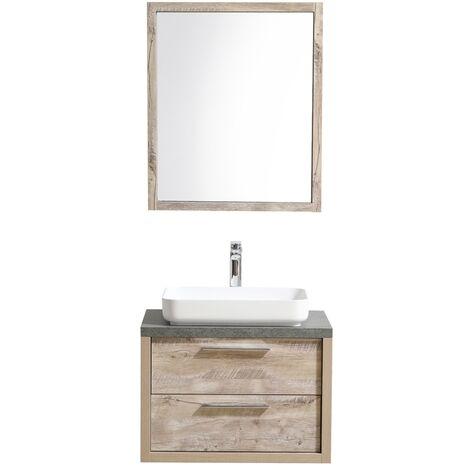 Bathroom furniture set Indiana 70 cm basin nature wood - Storage cabinet vanity unit sink furniture mirror