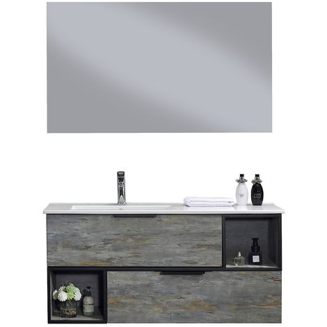Bathroom furniture set Java 120cm basin Grey - Storage cabinet vanity unit sink furniture LED mirror