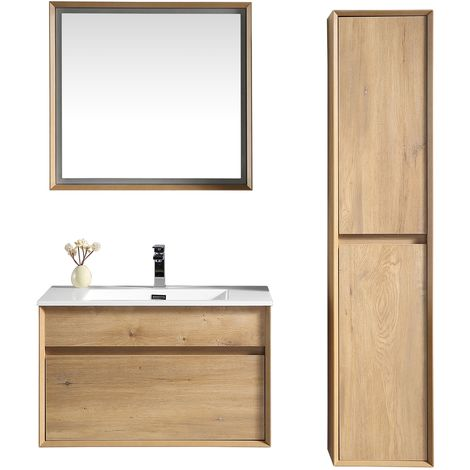 Bathroom furniture set Johnson 80cm basin Brown - Storage cabinet vanity unit sink furniture LED mirror