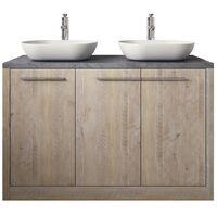 Bathroom furniture set Kansas 120 cm basin nature wood - vanity unit sink furniture