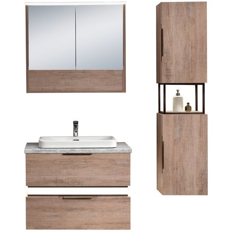 Bathroom furniture set Luzon 80cm basin Oak - Storage cabinet vanity unit sink furniture mirror