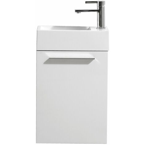 Bathroom furniture set Madrid, Basin 40x22 cm high gloss white - Storage cabinet vanity unit sink furniture toilet furniture
